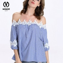2017 Summer Blue Striped Off The Shoulder Tie Cuff Tops Womens New Arrival Three Quarter half sleeve Casual Blouse