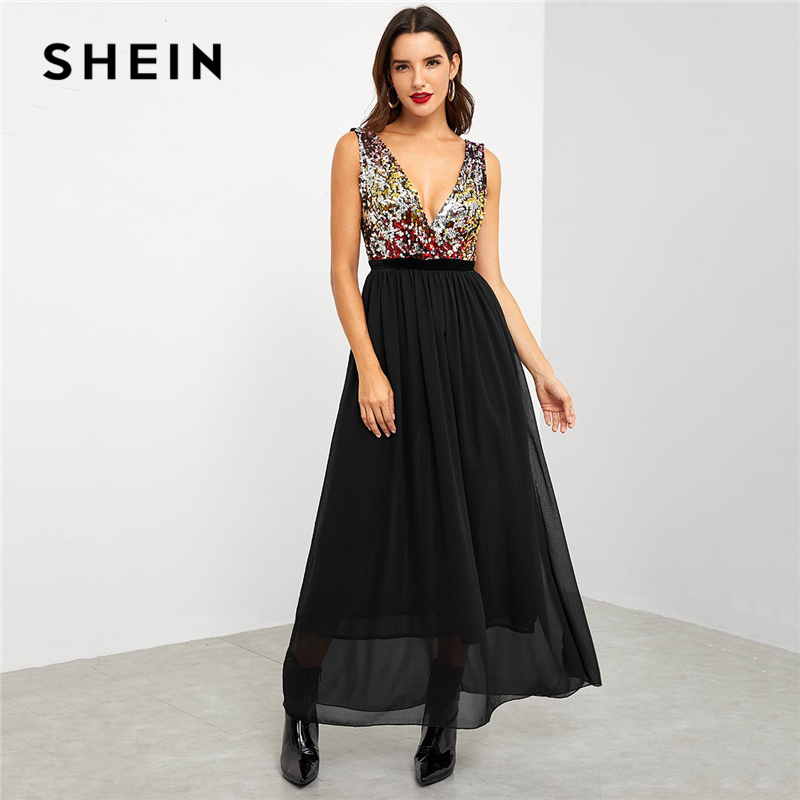 SHEIN Black Party Elegant Contrast Sequin Bodice Deep V Neck High Waist  Sleeveless Dress 2018 Summer Sexy Women Long Dresses-in Dresses from Women s  ... ded5a5f9335a