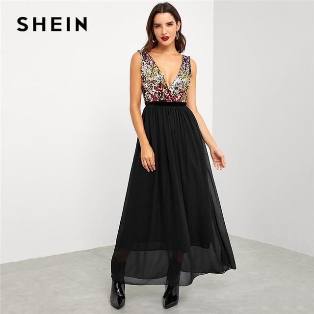 ec104f33f6b SHEIN Black Party Elegant Contrast Sequin Bodice Deep V Neck High Waist  Sleeveless Dress 2018 Summer Sexy Women Long Dresses