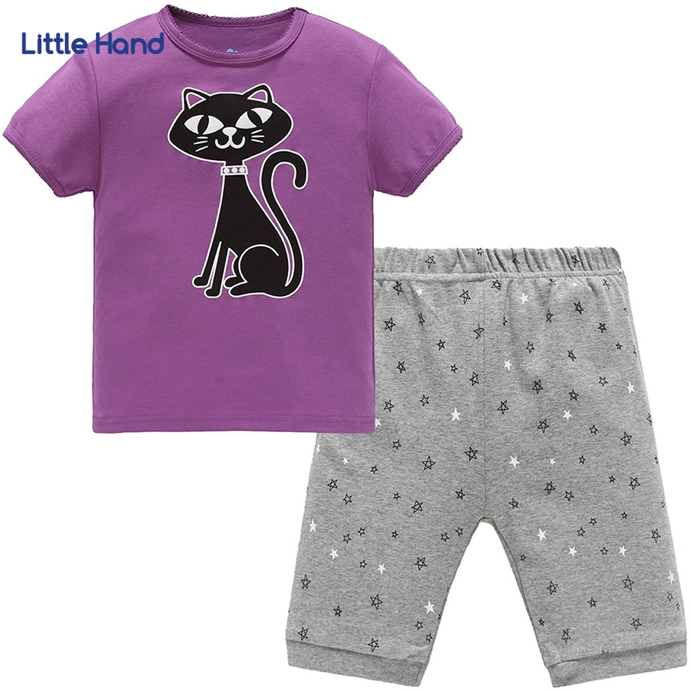 Kids Tshirt + Shorts Set Cotton Purple Black Cat Cartoon Short Sleeve Pajamas Baby Suits Pyjamas Children Clothing Sleepwears