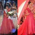 Nueva Llegada de La Manera vestidos de La Celebridad 2017 Miss Universo V-cuello Palabra de Longitud vestido de Bola Rosado brillante de Manga Larga Vestido de Noche