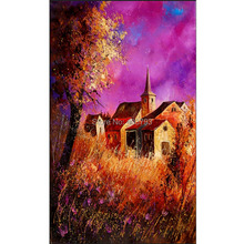 Wall Art Colorful Beautiful Lavender Manor Oil Painting Printed Canvas Home Decor Paintings