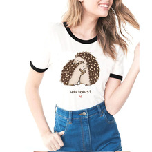 Летняя женская футболка, футболка с принтом «Hedgehog Kiss», повседневная брендовая футболка, одежда Hedgehug, дизайнерские хип-хоп футболки для женщин и девочек