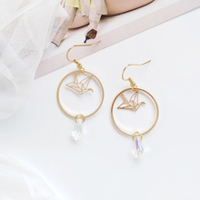 Fashion Jewelry Round Circle Bird Crane Facted Glass Drop Earrings Women For Gift