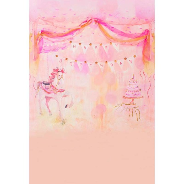 Hand Painted Style Vinyl Cloth Pink Birthday Party Photography Backdrops For Newborn Baby Girl Portrait Photo