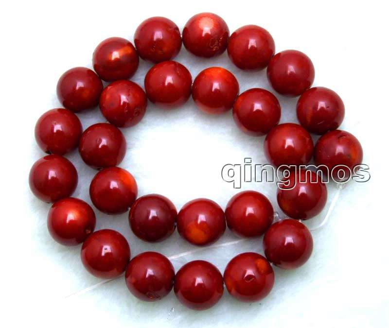 SALE Big 14-15mm round High quality Red natural Coral loose beads strand 15