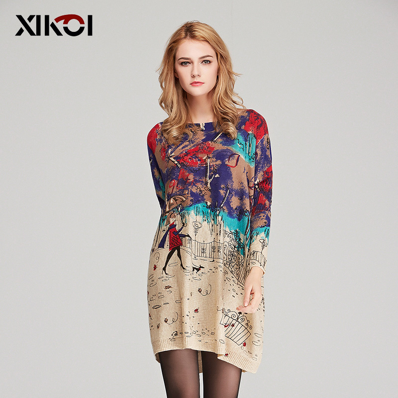 XIKOI Oversize Sweater Women Casual Batwing Sleeve Patchwork Print Woman Long Sweaters Pullovers Fashion Loose Clothing