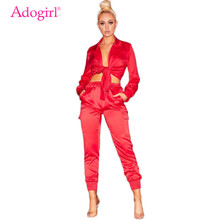 Adogirl Satin Two Piece Set Front Tie Long Sleeve Shirt Blouse Crop Top Pockets Pants Overalls Women Fashion Sexy Sets Outfits random floral print tie front two piece outfits in blue