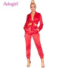 купить Adogirl Satin Two Piece Set Front Tie Long Sleeve Shirt Blouse Crop Top Pockets Pants Overalls Women Fashion Sexy Sets Outfits дешево