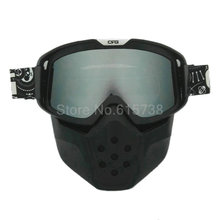 New Arrival silver lense Mask Motocross Goggles bike bicycle  Detachable Mask Mouth Filter goggle motorcycle