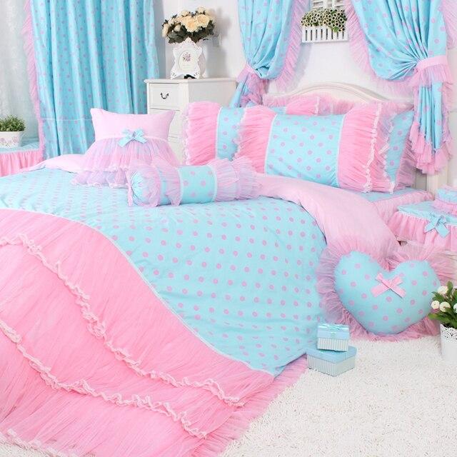 4pcs3pcs Pink Polka Dot Bedding Sets Girls Pink Lace Ruffle Duvet
