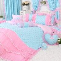 4pcs/3pcs Pink Polka Dot Bedding Sets Girls Pink Lace Ruffle Duvet Cover Set Girls Fairy Princess Wedding Bed Sheet Sets