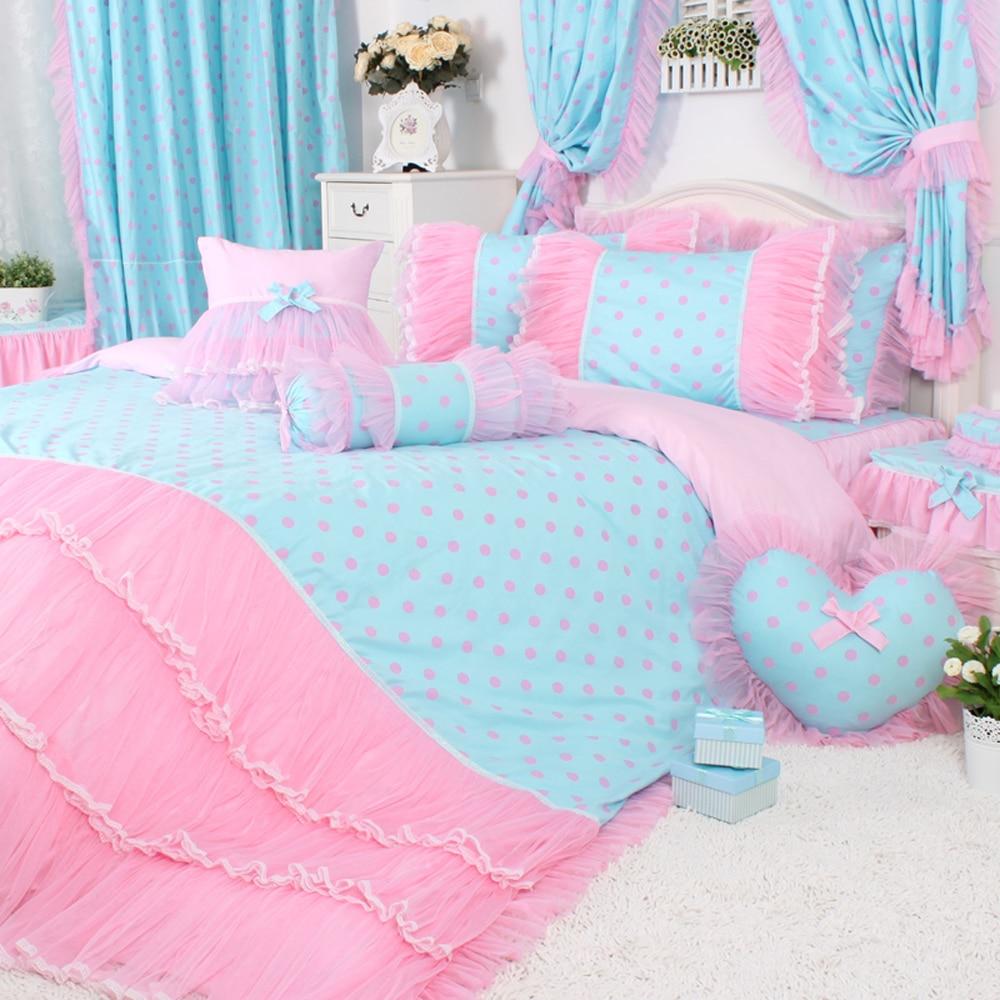 Blue bedroom sets for girls - 4pcs 3pcs Pink Polka Dot Bedding Sets Girls Pink Lace Ruffle Duvet Cover Set Girls Fairy Princess Wedding Bed Sheet Sets