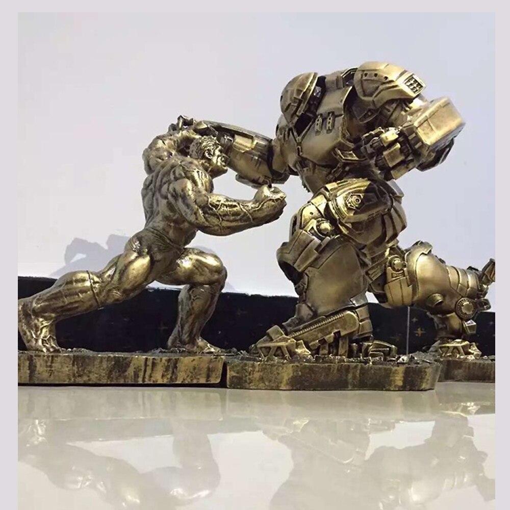 Quantità limitata 2 pz/set Hulk VS iron man MK44 Statua Finitura Pittura Resina Staue Action Figure H34CM