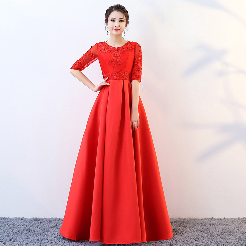 Robe De Soiree Fashion Red Lace Half Sleeves Sexy Long   Evening     Dresses   Bride Banquet Elegant Zipper Back Party Prom   Dress