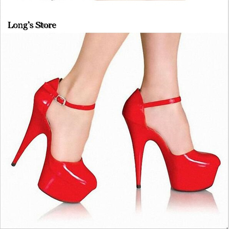 CDTS New 2017 shoes woman Ankle Strap Summer Round Toe 15cm thin high heels platform wedding pumps,Big 35-45 46 zapatos mujer blend