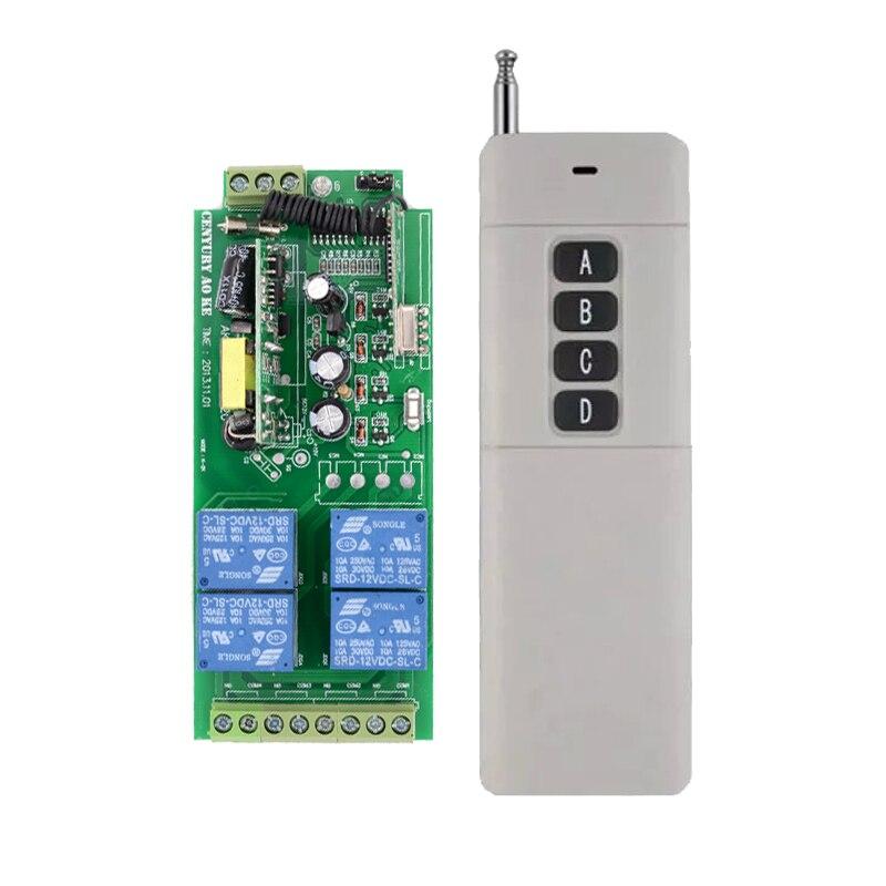 110V 220V 85V~250V 4CH Wireless Remote Control System Wireless Relay Switch Receiver 100M--1000M Long Distance Transmitter 4 relay ch wireless receiver