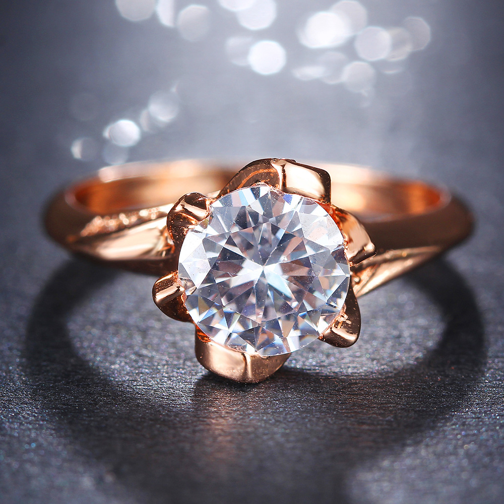 GroßZüGig Doreenbeads 2019 Mode Ringe Big Zirkonia Hochzeit Engagement Ringe Für Frauen Rose Gold Silber Farbe Ring Schmuck, 1 Pc