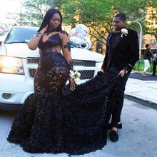 African Plus Size Prom Dresses Sheer Neckline Mermaid Evening Gowns Long Sleeves Tiered Black Girls Formal