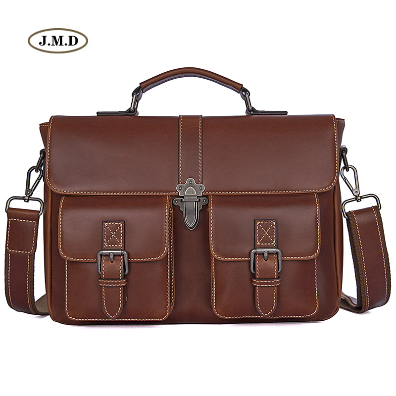 J.M.D New Arrivals Genuine Excellent Vintage Leather Women Fashion Style Handbags England College Style Shoulder Bag 7376B new fashion women backpack genuine leather mochila colorful patchwork plaid pattern vintage schoolbag shoulder bag england style