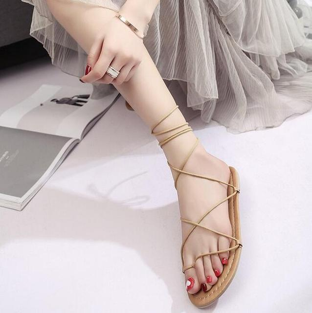 25435de80df New Gladiator Women shoes Roman sandals shoes Women sandals peep-toe flat Shoes  woman mujer sandalias