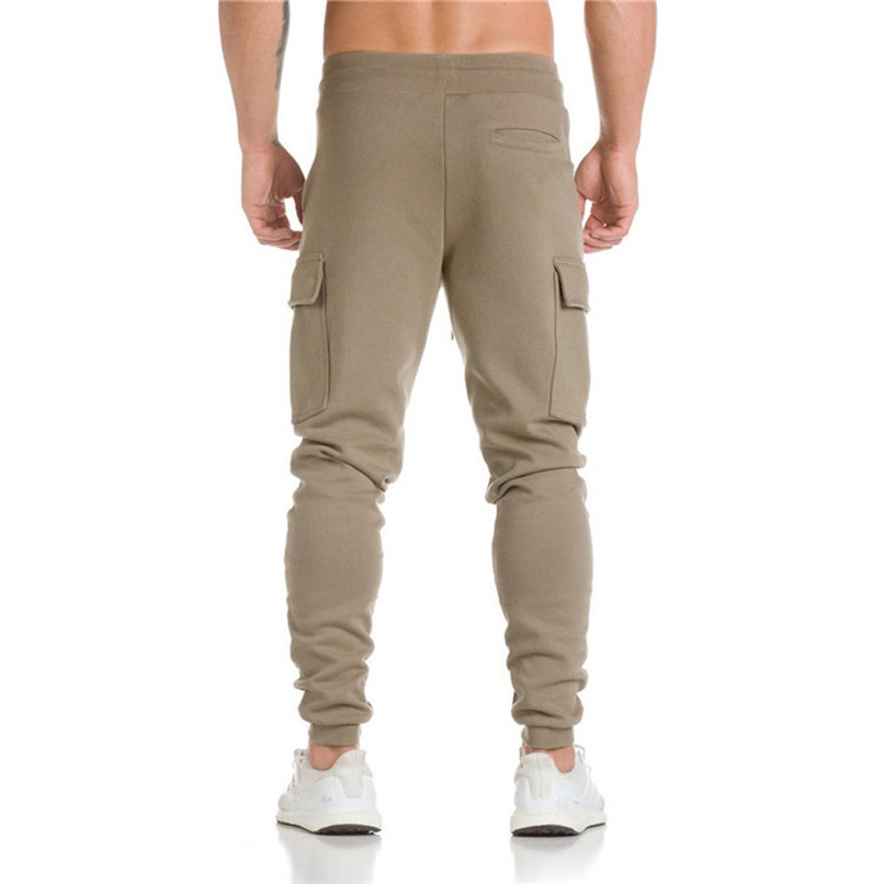 Cotton Men Full Sportswear Pants Casual Elastic Cotton Mens Fitness Workout Pants Sweatpants Trousers Jogger Pant #F40OT31 (4)
