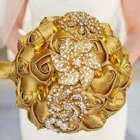 Private Custom Wedding Bouquet Luxury Gold Crystal Brooch Bridal Bouquet Handmade Silk Rose Ribbon Bridesmaid Holding Flowers