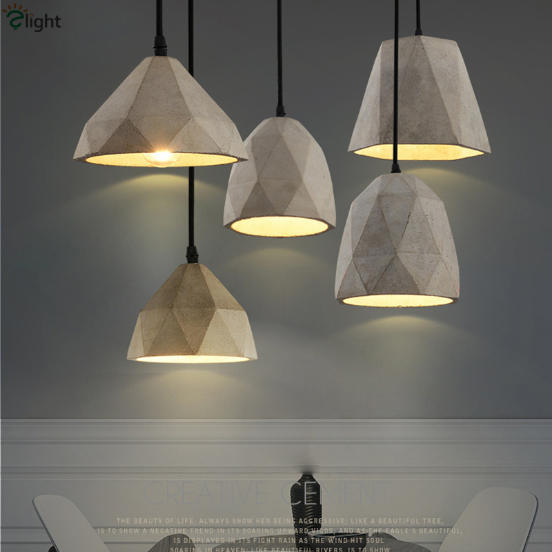 2016 Modern Novelty Irregular Geometric Cement Led Pendant Light Nordic Minimalism Restaurant Gray Stone Hanging Light