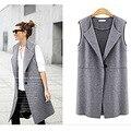 Street Fashion 2016 Office Lady Jackets Long Vest Women Sleeveless Outerwear Casual Colete Feminino Coats Cardigan Gilet