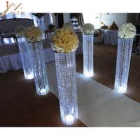 6 adet/grup Yeni varış 120 cm uzun boylu 22 cm çaplı akrilik kristal düğün yol kurşun düğün centerpiece olay parti dekorasyon