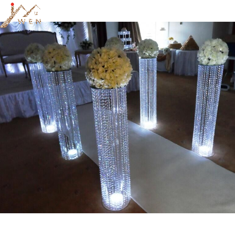 6PCS 120CM  47inch Tall 22 CM Diameter Crystal Wedding Road Lead Acrylic Centerpiece For Event Party Decoration