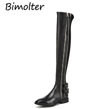 Bimolter Winter Women Fashion Over the Knee Boots Genuine Leather Thigh High Riding Buckle Strap Flat Heels LAEB033