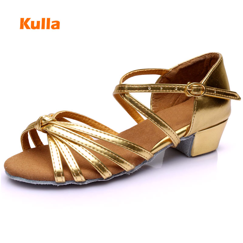 New Latin Dance Shoes For Girls Kids Soft Sole Low-heel 3.5cm Women Children Tango Salsa Ballroom Dancing Shoes Wholesale