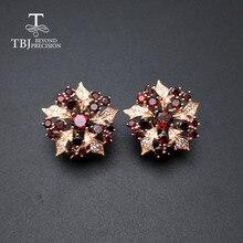 TBJ boucle doreille en grenat au design élégant de fleur, pierres précieuses naturelles du mozambique, argent sterling 925, beaux cadeaux pour femmes
