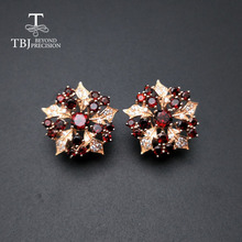 TBJ ، جديد أنيق تصميم زهرة العقيق القرط الطبيعية موزمبيق الأحجار الكريمة 925 فضة غرامة مجوهرات للنساء هدايا لطيفة