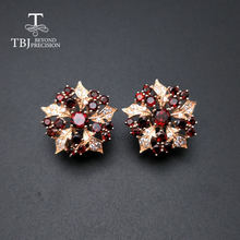 Женские серьги Гранат tbj элегантные из стерлингового серебра