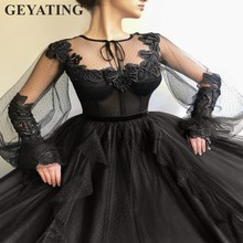 Arabic Black Ball Gown Evening Dress Long Sleeves 2019 Elega