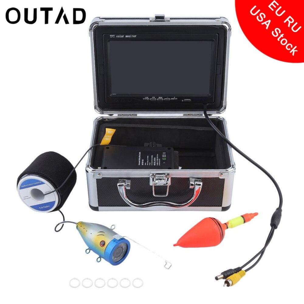OUTAD Professional Подводный Видео рыболокаторы 1000TVL свет управляемый озеро под водой рыбалка камера комплект бесплатная доставка