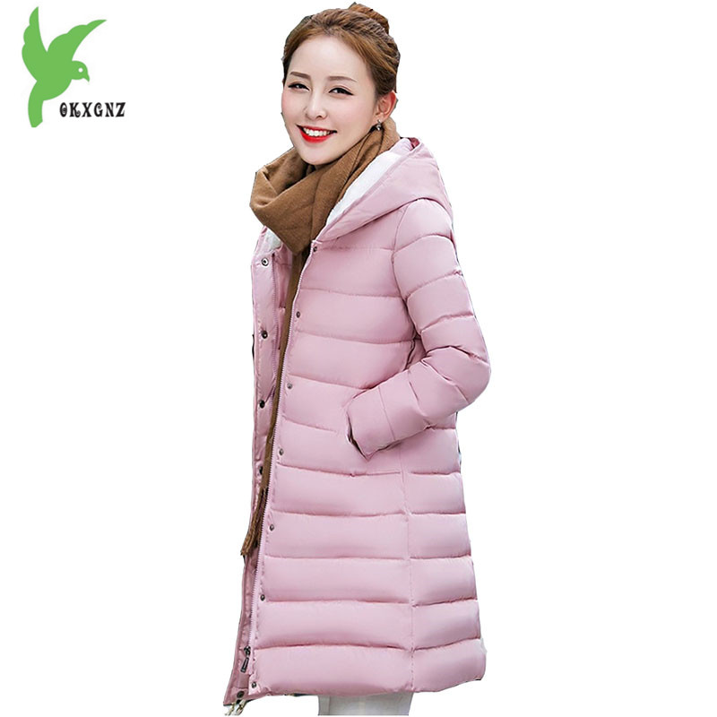 New Women Winter Jackets Down Cotton Coats Casual  Fashion Medium length Hooded Parkas Windproof Warm Plus Size Outerwear OKXGNZ