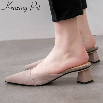 Krazing pot elegant lady block med heels slip on slingback mules natural leather art girls square toe summer vocation shoes L31