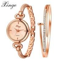 Xinge Brand Women Luxury Crystal Bracelet Watches Set Fashion Ladies Business Quartz Wristwatch Ladies Dress Casual