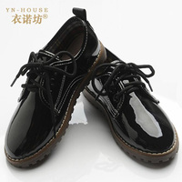 Spring Shoes Boys Shoes British Style Small Children Big Virgin Leather Patent Leather Lace Shoes Slip