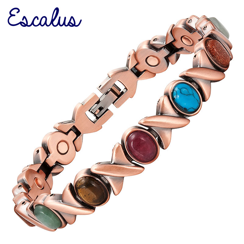 Escalus Women's Classic Health Copper Plating Armbånd for kvinner Fargerike steiner Magnetisk mote Damer Bangle Bio smykker