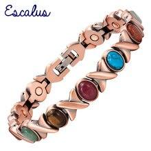 Escalus Women's Classic Health Copper Plating Bracelet for Women Colorful Stones Magnetic Fashion Ladies Bangle Bio Jewelry