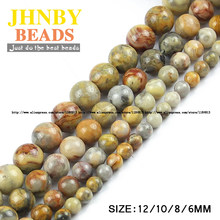 JHNBY 6/8/10/12MM Yellow Natural Stone Crazy lace carnelian DIY Round spacer Loose beads for Jewelry bracelet Making Accessories()