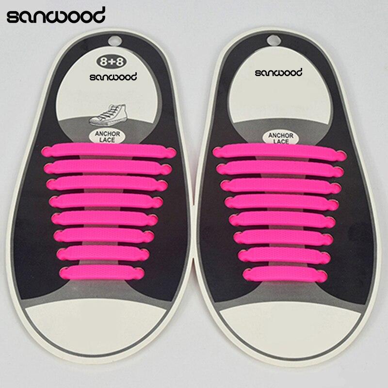 € 1.11 29% de réduction|16 Pcensemble Femmes Hommes Lacets De Sport Élastique Silicone Tous Les Sneakers Fit Bracelet dans Lacets de Chaussures sur