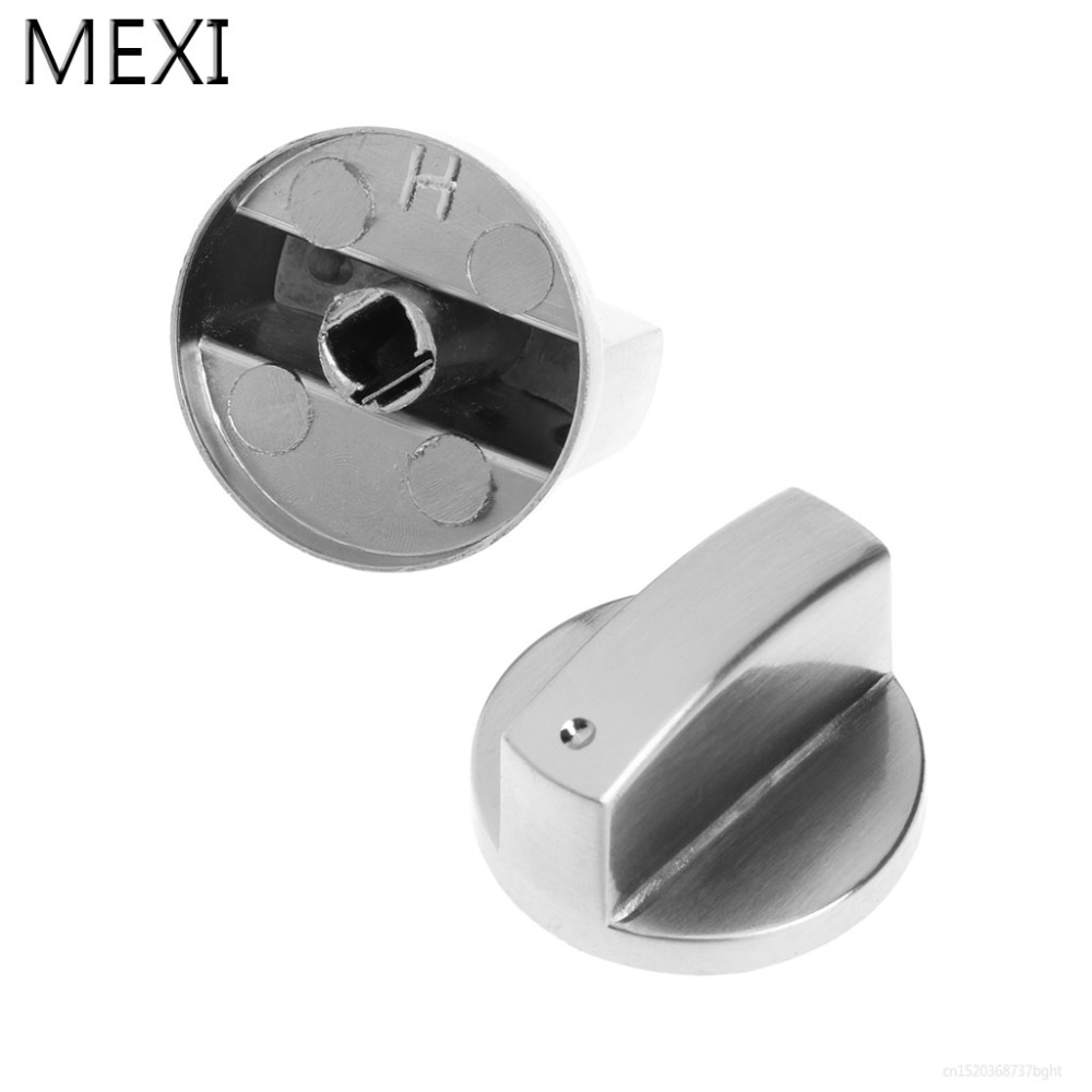 MEXI 2Pcs Universal Knob Switch Replacement Metal Left&Right Direction For Kitchen Cooker Gas Stove Oven Gas Range Grill mexi 2pcs 8mm hole metal gas stove cooker rotary switch knobs left