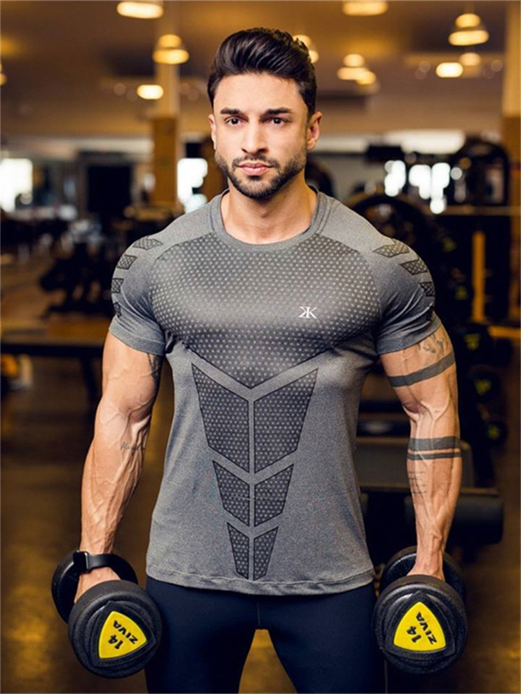 Men Casual Fashion Black Print T-shirt Gyms Fitness Bodybuilding Workout Cotton T Shirt 2019 New Male Tee Tops Clothing