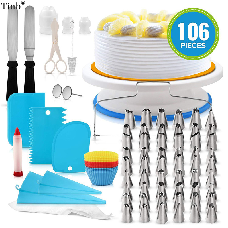 106pcs Stainless Steel Russian Pastry Nozzles Icing Piping Tip Set Bag Converter Cake Stand Kitchen Baking