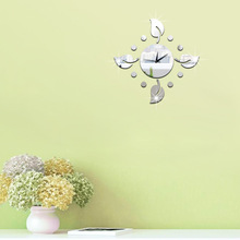 DIY creative wall clock Technological Mirror Acrylic 3D Gardenia flower Wall sticker Home Decoration